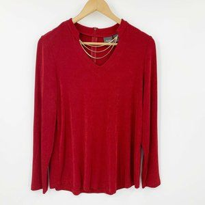 Chico's Travelers Red Mock Neck Gold Removable Chain Accent Size 1 or US Medium